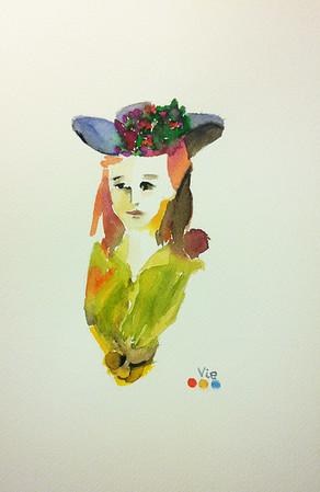 No 102 Jeune femme au chapeau fleuri