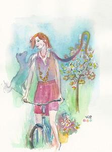 No 81 Dame en bicyclette et son chien bleu