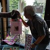 Our first stop was to deliver some supplies to an animal shelter.  Jeane is having a conversation with one of the cats.