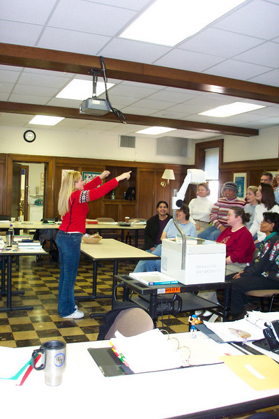 Getting the cohort organized for the photo.  November, 2003