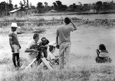 Mohinder Dhillon and Caroline Webb filming an interview in Ethiopia for film 'Africa Tomorrow', 1986