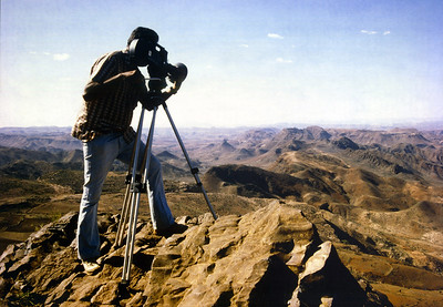 Mohinder Dhillon filming Wollo Province landscape in Ethiopia for BBC Film 'Africa Tomorrow', 1986