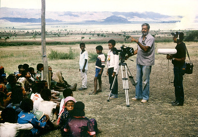 Cameraman Mohinder Dhillon and his sound man filming in Ethiopia for BBC Film 'Africa Tomorrow', 1986