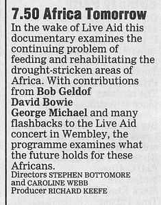 Text for 'Africa Tomorrow' Listing in BBC Radio Times, 1986