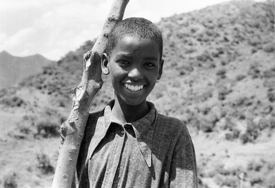 Portrait of Ethiopian boy in Wollo Province, 1986