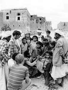 Two Masons Discuss Earthquake-Resilient Building Techniques, Heqa Sawd, Dhamar, Yemen June 1983