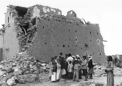 Group Discussing Re-building Techniques, Heqa Sawd, Dhamar Region, Yemen, June 1983