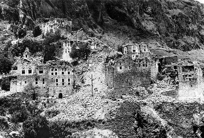 Cluster of Houses Destroyed by 1982 Earthquake, Dhamar Region, Yemen in June 1983