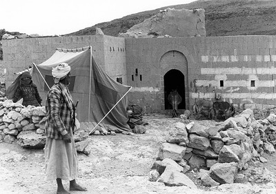 Yemeni Couple Camp Outside Their Home after 1982 Earthquake, June 1983