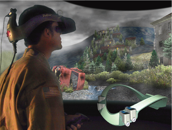 a scene for the DARKCon project at USC's ICT. An image of the Scent collar for smells in the VR experience is overlaid onto the image of the participant.