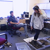 Jacki creating footstep sounds for the Sensory Environments Evaluation Project at USC's ICT. Ad hoc Foley stage; c. 2004
