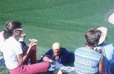 A snack in the field .... really good bread and jam. Kari Marilyn Mohn, Allen Hye behind me, Reiner Charbonnier, Mrs. Clopath, Claudia.