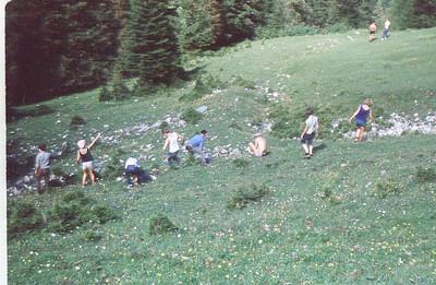 """Clearing stones.  From left to right: Johannes Symanowski, Mathilde """"Matz"""" Langensiepen, ?, ?, Christos Kotronis, Dick van Norren (shirt off), Cheryl Rogers, Gerhild Baeker.  Thanks Gerhild for the identification."""