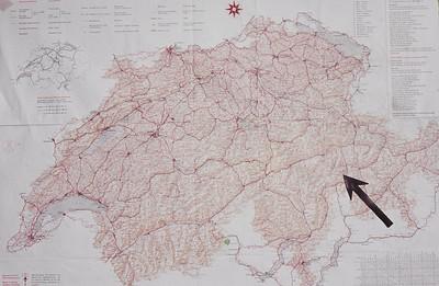 The location of Wergenstein in Switzerland.