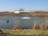 Aerators, geese who no longer migrate, cattails, and the neighboring farm.