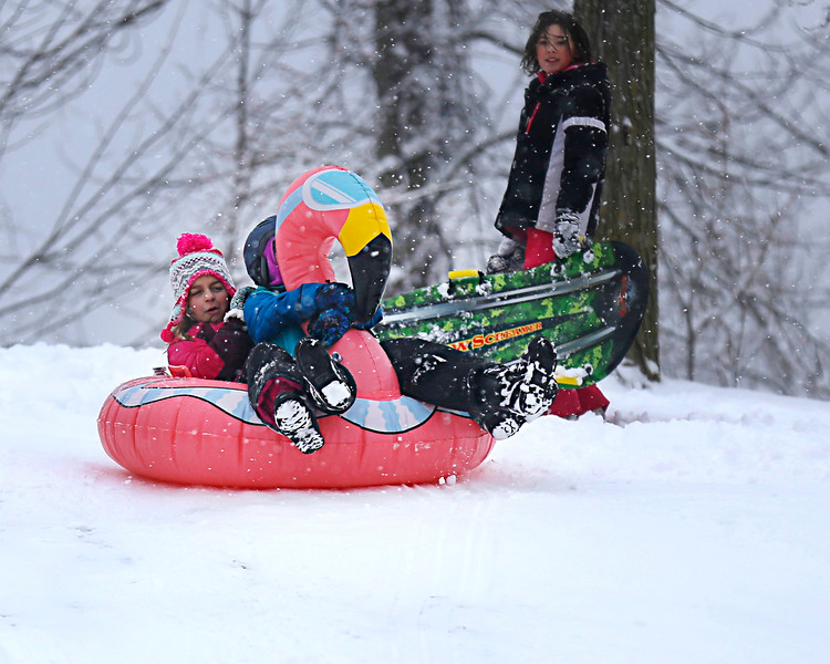 HOLLY PELCZYNSKI - BENNINGTON BANNER Meya Beaudoin, 8 years old of Shaftsbury holds on tight to the neck of her flamingo as she sleds with her friend Joanna Laucella 9 years old of Bennington on Wednesday afternoon at the Norshaft Lions Club in North Bennington.