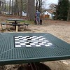 Work was underway to put in Wallis Park Playground that was funded through a citizens petition on Friday morning in Lunenburg. One of the things put into the park was tables with chess boards on them. SENTINEL & ENTERPRISE/JOHN LOVE
