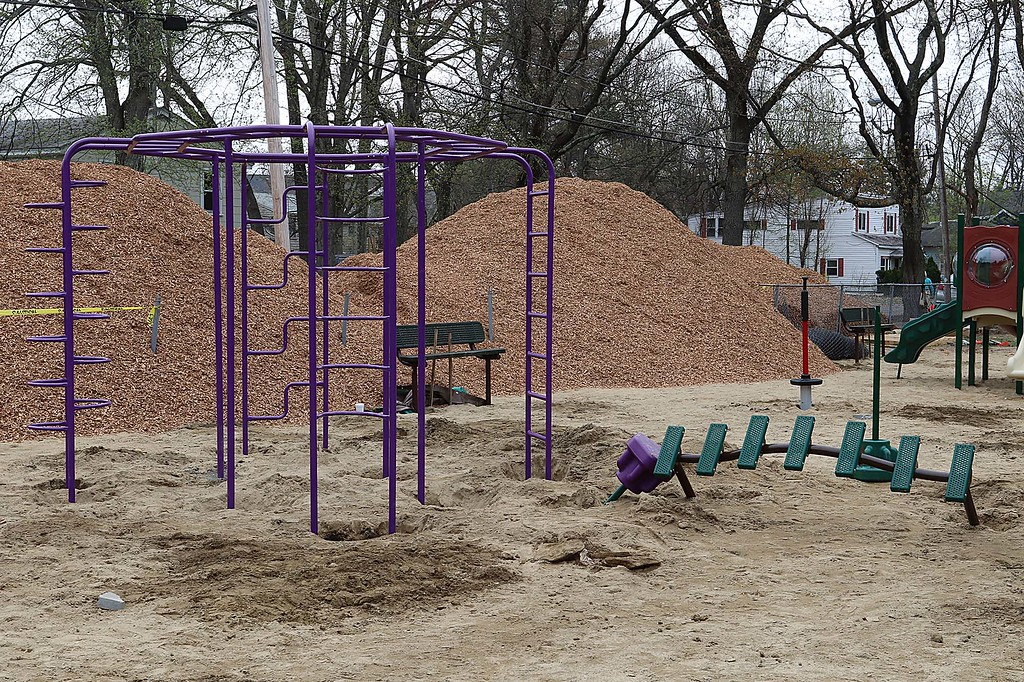 . Work was underway to put in Wallis Park Playground that was funded through a citizens petition on Friday morning in Lunenburg. SENTINEL & ENTERPRISE/JOHN LOVE