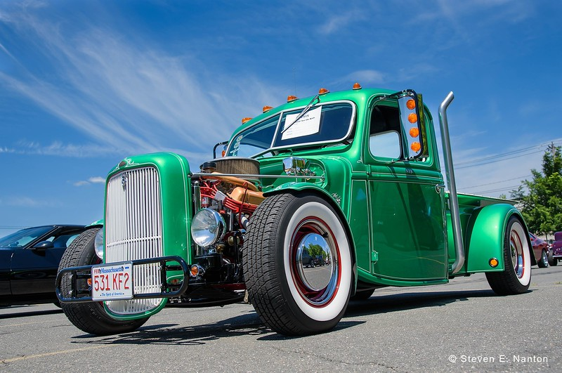 A 1937 Ford pickup truck, owned by Ron Bushey, sits on display at the Cruisin' for the Kids Car Show on Plainfield Street in the Springfield's North End on Saturday. Proceeds of the event benefited Baystate Children's Hospital. (Steven E. Nanton photo)