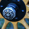 Closeup of a wheel hub on a 1914 Reo owned by Roger Baker, of South Deerfield. The car was on display at at the Brews, Cruise & BBQ'S night at Summit View Banquet House in Holyoke on Tuesday. The event was sponsored by Red Rock Cruisers. (Steven E. Nanton photo)
