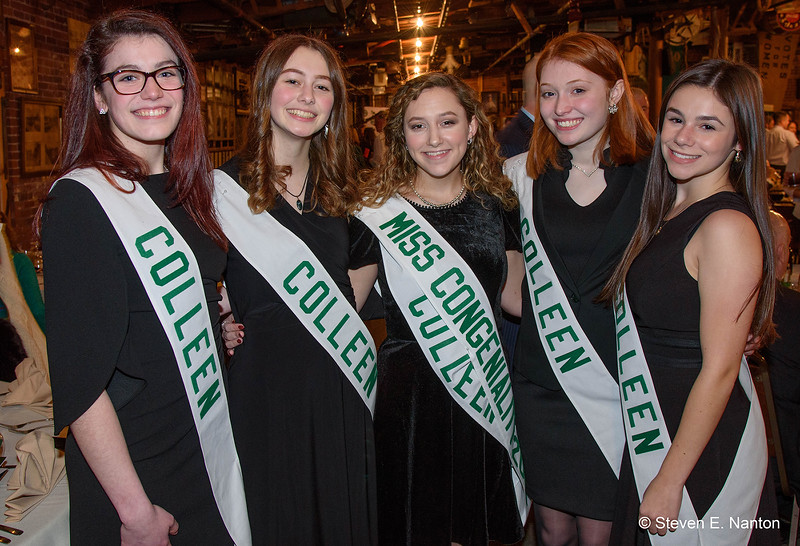 Holyoke Colleen finalists, from left, Natalie Mayko, Trish Haradon, Emily Couture, Haley Dusseault and Moira McDermott, pose for a photo at the Holyoke St. Patrick's Committee  Awards Recognition Reception at The Wherehouse? in Holyoke on Saturday. (Steven E.Nanton | Special to The Republican)