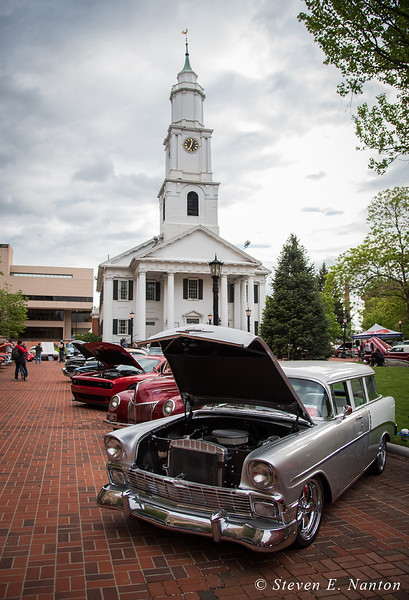 A 1956 Chevrolet station wagon on display with Old First Church in the background at Springfield Business Improvement District's weekly Monday night Cruise Night at Court Square. (Steven E. Nanton photo)