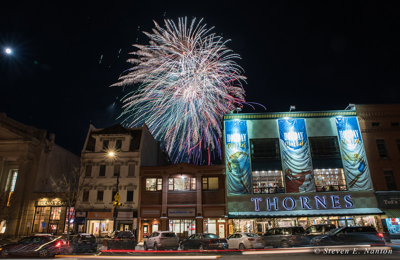 Fireworks light up the sky in downtown Northampton during the 33rd annual First Night festivities on New Year's Eve. (Steven E. Nanton photo)