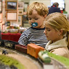 Alexandra Cieplinski, of Westfield, holds her little brother, Stephen, 2, as her family visited the Amherst Railway Society's 49th annual Railroad Hobby Show at Eastern States Exposition in West Springfield on Saturday. (Steven E. Nanton photo)