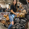 Paula Novak sits on a 2015 Indian Chieftain motorcycle at the American Muscle Cycle Works display at the 13th annual Springfield Motorcycle Show on Saturday at Eastern States Exposition in West Springfield. (Steven E. Nanton photo)