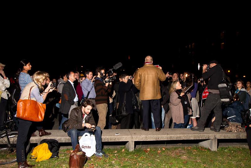 Chris Hedges speaks to Occupy Harvard protestors next to the Harvard University Science Center, November 2011. Creative Commons BY-NC-SA 2011 Jason Pramas.