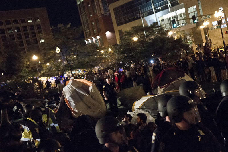 The destruction of Occupy Boston Camp 2, Oct. 10, 2011. Creative Commons BY-NC-SA 2011 Jason Pramas.