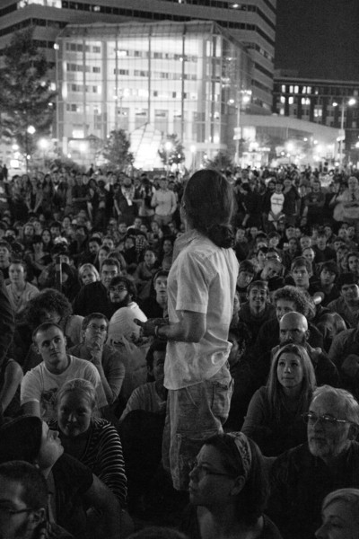 Man addresses first OccupyBoston General Assembly, 9/30/11. Creative Commons BY-NC-SA 2011 Jason Pramas.