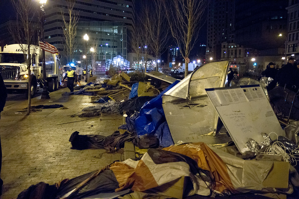 Aftermath of the destruction of the Occupy Boston main encampment at Dewey Square, Dec. 9, 2011. Creative Commons BY-NC-SA 2011.
