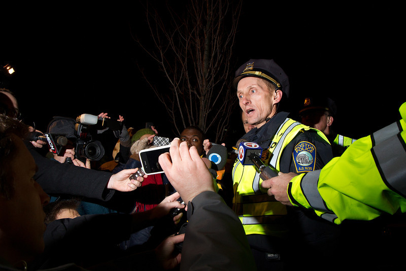 Boston Police Superintendent William Evans holds a press conference on the street after the destruction of the Occupy Boston main encampment at Dewey Square, Dec. 9, 2011. Creative Commons BY-NC-SA 2011 Jason Pramas.