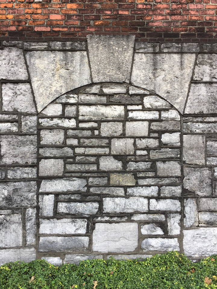 """Close up of some stone work on rickhouse """"C"""""""