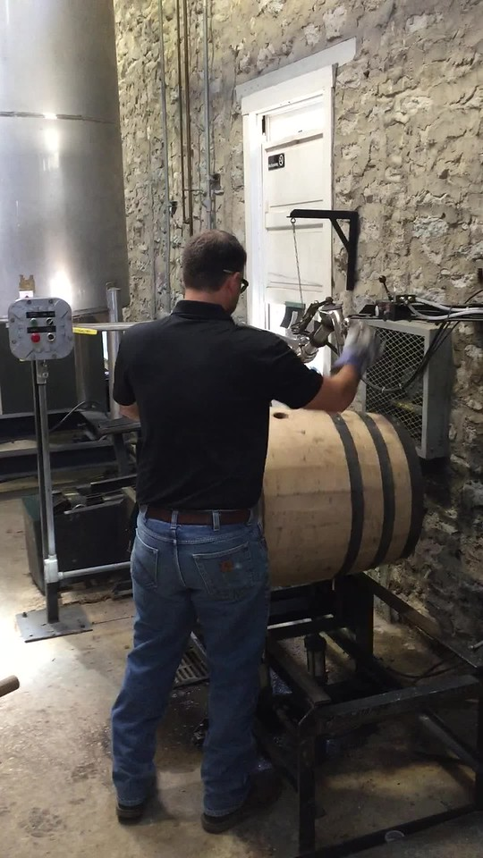 filling the barrel and adding the poplar bung