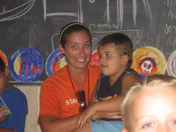 JOdie, my co-semiole-counselor, she is from Leeds, England. This is her and one of our favorite campers Tyler Luckett.