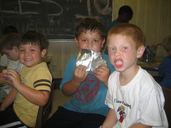 Donavan, Ethan and Aiden. at snack time.