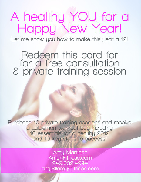 Promotion piece (back): Amy4Fitness New Year's Ad (Design/Photography by Laura Schmidt Photography)