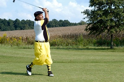 The never dissappointing KBEMS Advisor Inspector David Williams shows off his new knickers at the Kentucky EMS Conference and Expo Golf Scramble. The Summit Golf Course.