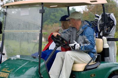 KAPA President Mark Harrison drives LifeNet's David Williams to tee off. Kentucky EMS Golf Scramble. Summit County Club, Owensboro.  N37° 48.35' W87° 00.04'