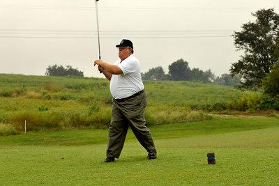 Henderson's Bruce Farmer tees off at the Kentucky EMS Golf Scramble. Summit County Club, Owensboro.  N37° 48.30' W87° 00.36'
