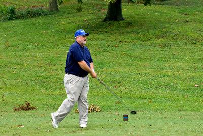 KBEMS' Letch Day tees off. Kentucky EMS Golf Scramble. Summit County Club, Owensboro.  N37° 48.35' W87° 00.04'