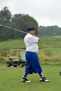LifeNet's David Williams tees off (noticed he now wears LifeNet colors, and is giving his old golf clothes to Mike Poynter of PHI). Kentucky EMS Golf Scramble. Summit County Club, Owensboro.  N37° 48.30' W87° 00.36'