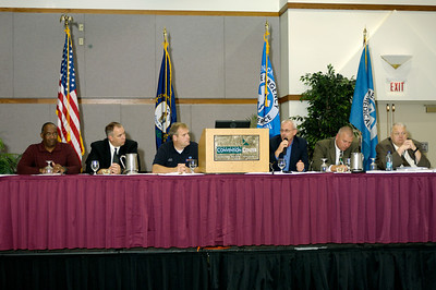 Kentucky's Response to Hurricane Katrina versus Gustav and Ike panel discussion. From left: Walter Middleton, Dr. Joe Holley, Duane Lee, Mark Harrison, Jamey Locke, Charles O'Neal. 2008 Kentucky EMS Conference, Sloan Convention Center, Bowling Green KY