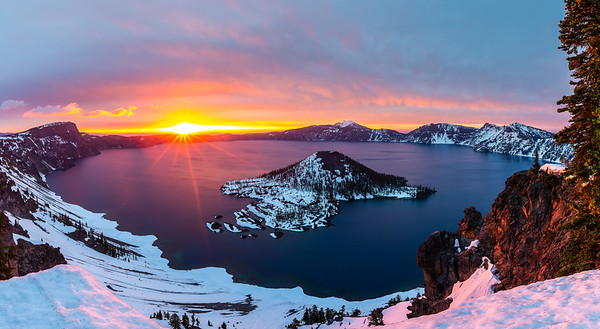 Crater Lake Sunrise Panorama