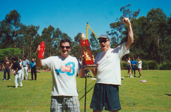 Brent and Smiffy win the inaugural Citect Volleyball Series.