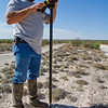 A surveyor finds a small monument in west Texas.