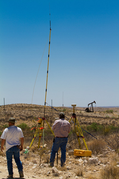 Surveyors battle 40 MPH winds in west Texas.