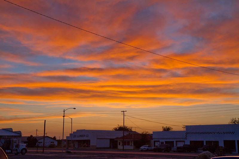 Sunset in the small town of Pecos, Texas.
